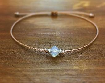 Opalite Friendship Bracelet - best friend gift - boho jewelry - best friend bracelet - bridesmaid gift - faux moonstone - opalite bracelet