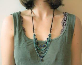 Cascading Streams Necklace, sundance style jewelry, sundance style necklace, leather jewelry, gemstone necklace, lapis lazuli, turquoise