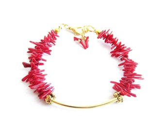 Red coral bracelet, coral branch bracelet, red bracelet, italian coral bracelet, italian jewelry, red gold bracelet