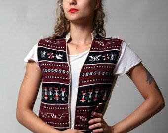 Woven Black and Bordo Vest/ Aztec Print/ Christmas Vest/ Winter Vest/ Warm Ornamented Vest • Size Small •