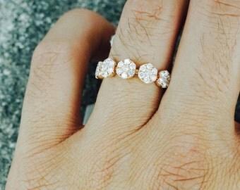 18k Rose Gold Diamond Anniversary Band Promise Ring