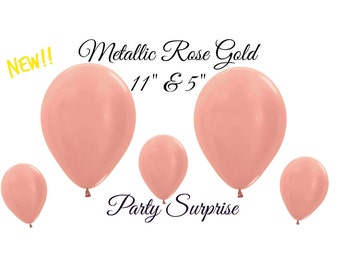 "Rose Gold Balloons Metallic Latex 11"" 5"" New Rose Gold Balloons Weddings Bridal Showers Birthday Parties, Anniversary Party, Prom"