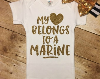 Baby Girl, My Heart Belongs To A Marine, Marine Daddy, Marine Girl, Daddy Daughter, Pregnancy Announcement, New Baby, Hospital Outfit