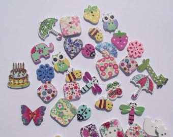 DESTASH WOODEN BUTTONS,Button Lot,Painted Wood Buttons,Craft Sewing Supplies,Scrapbook Supplies,Bees,Birthday Cake,Butterfly,Animal,Flower