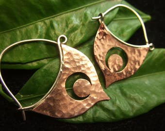 Mixed Metal Dangle Moon Earrings Copper Sterling Silver Earrings Handcrafted Hammered  Artisan Design Hippie Boho Crescent Moon  Jewelry