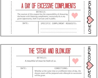 Love Coupon Book (Naughty, Valentines Day, Anniversary, Birthday) PRINTABLE PDF