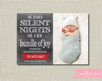 Christmas Card, Holiday Card, New Baby Christmas Card, Funny Card, Christmas Birth Announcement, Funny Christmas Card, Photo, Silent Night
