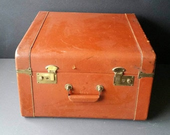 Leather Suitcase. Cowhide luggage. Rare large size.