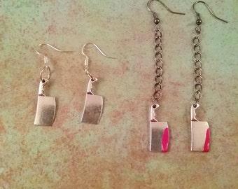 Miniature Butcher Knife Earrings, Dangle knife earring with blood. Silver knife earring, kitchen knife earrings, knife jewelry, punk jewelry