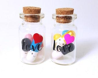 Love- Bottle Charm ,Love Pills, Hidden Message, Kawaii Pills, Bottle charm, Message in a bottle, Valentines gift