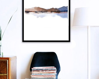 Poster Size Fine Art Print Abstract Watercolor Painting, Rust Blue Art Print, Large Wall Decor, Large Wall Hanging Art, Watercolor Print Art
