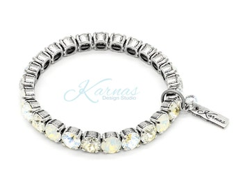LIGHT & AIRY 8mm Durable Stretch Bracelet Made With Swarovski Crystal *Choose Your Finish *Karnas Design Studio™ *Free Shipping