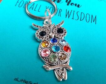 Teacher thank you gift owl keychain keyring lanyard charm wisdom bohemian crystal