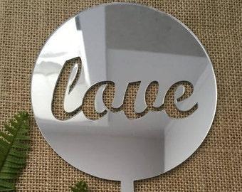 Love Round Acrylic Silver Mirror Wedding Cake Topper