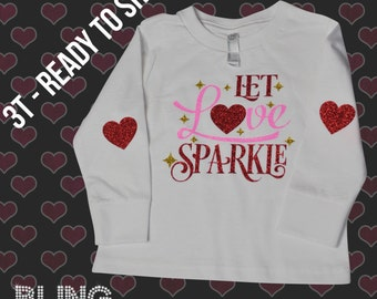 3T Valentine's Day Tee - Long Sleeve Valentine's Shirt - Ready to Ship - Toddler Valentine Shirt - Glitter Valentine's Day T-Shirt - Sample