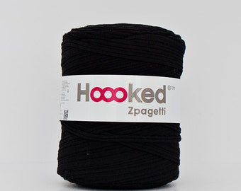 t-shirt yarn 135 yards, ecologic cotton, Zpagetti, black, recycled yarn, cotton yarn, elastic yarn