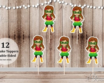 Superhero Villain Girl Party - Set of 12 Girl Robin Inspired Double Sided Cupcake Toppers