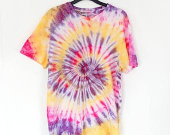 Spiral Purple, Yellow and Pink Tie-Dye T-shirt