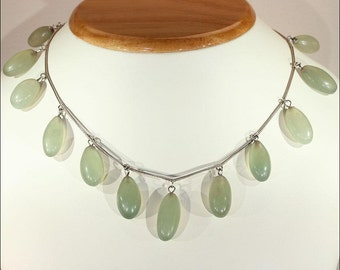 Antique Edwardian Chalcedony Drop Necklace in Silver