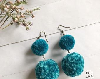 Two Tone Pom Pom Earrings