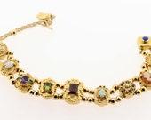 14K Gold Slide Bracelet with Gemstones
