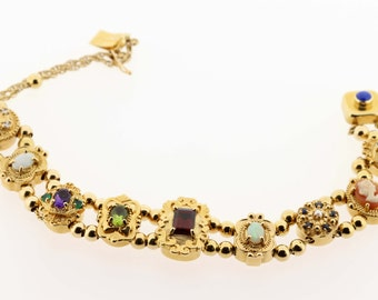 14K Gold Slide Bracelet with Gemstones