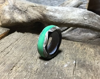 Black and Green Dread Bead - Organic Glass Dread Bead -BHB - Handmade Lampwork Beads, SRA