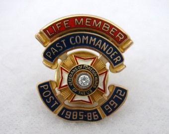 Vintage VFW Pin, Veterans of Foreign Wars Life Member Past Commander Post 9972 1985-86, 1/5 10K GF Diamond Lapel Pin, American Legion Pin