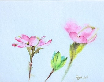 Original Floral Watercolor Painting • Dogwood Blossoms in Pink and Green