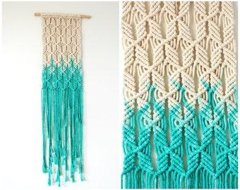 Macrame Wall Hanging // Turquoise Woven Wall Hanging // Fiber Art Wall Hanging // Macrame Art // READY TO SHIP