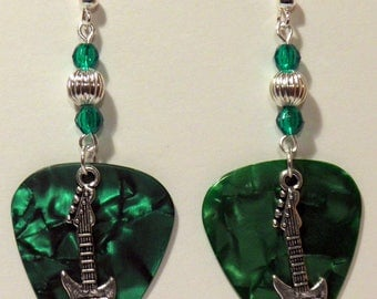 Electric GUITAR Charm on Guitar Pick Beaded Earrings - Handmade in USA