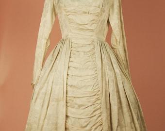 1950S WEDDING DRESS - Ballerina Length Wedding Dress - Full Circle - Wedding Dress - Vintage Dress - 1950s Dress - Embroidered Dress