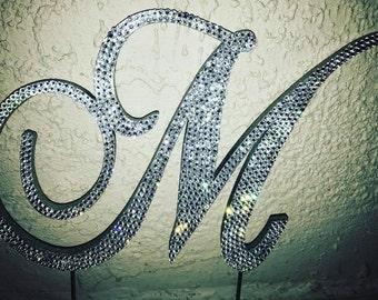 Custom Swarovski Crystal Monogram Cake Topper