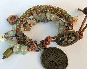 DELILAH, Beaded Bracelet, Bangle Bracelet, Boho Jewelry, Bohemian, Macrame Bracelet, Twinkling Of An Eye, Artisan Jewelry, Prehnite, Gift