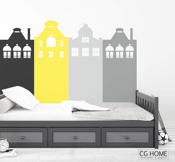 Headboard AMSTERDAM Wall Decal Houses Wall Protection Entire Wall Covering Vinyl Removable Washable Sticker Scandinavian Nursery Home