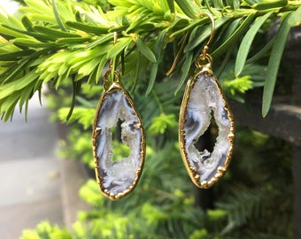 Open Agate Geode Slice Earrings in Gold Vermeil