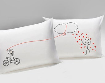 Showering You with My Love™ Couple Pillowcases,Boyfriend Gift,Husband Gift,Couple Gifts,Valentines Gift for Him,Long Distance Boyfriend Gift