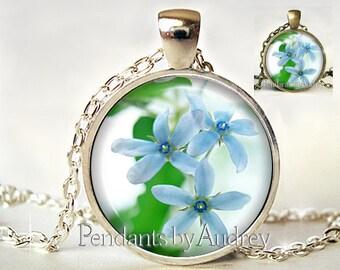 Flower Pendant, Flower Necklace, Flower Jewelry, Blue Flower, Charm, Glass, Gift, Picture, Art, Print, Flower,Cute,Gift for Little Girl