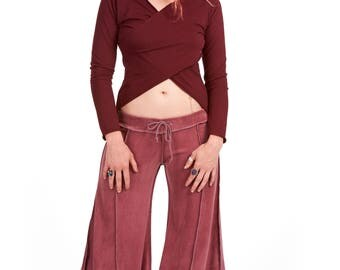 VELVET FLOW PANTS, dusty pink velvet flares, extra wide long bellydance trousers, hippy flare pants, pixie clothing, Goa doof clothing