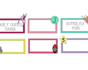 Woodland Party Food Labels, Fairy Party Labels, Flower Party Labels