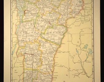 TWO SIDED Antique Road Map Vermont Map Highway Roadway Original