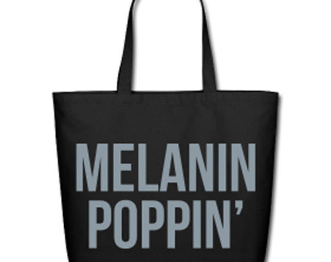 Melanin Poppin' Natural Cotton Canvas Tote - Black/Metallic Silver Lettering