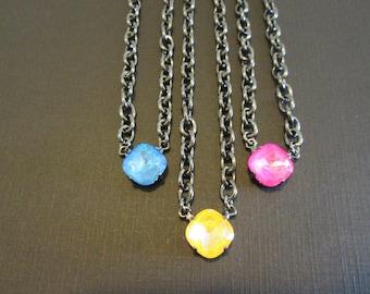 Swarovski Crystal Necklace/Crystal and Gunmetal Necklace/Ultra Citrine Crystal  Necklace/12mm Single Stone Necklace/Ultra Pink/Ultra Blue