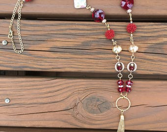 Red Beaded Necklace - Tassel Necklace - BOHO Tassel Tecklace -  Red Beaded Tassel Necklace (Item #0815)