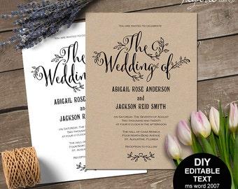 Rustic wedding invitation, printable rustic invitation, rustic wedding invites, templates, editable, instant download, #S11MR3