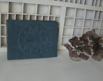 Guestbook-Oblong write book A5-blue with relief ornament (blank)-unique hand-bound hardcover note book-write or sign book