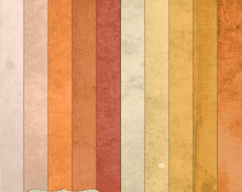 """Digital Printable Scrapbook Craft Paper - Grunge Vintage Single Solid Colour Papers in Orange Shades - 12 x 12"""" - PU/CU Commercial Use"""