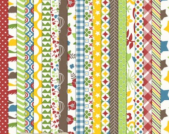 """Digital Printable Scrapbook Craft Paper - Primary Time - Stars Chevron Plaid Moustaches Stripes Gingham - 12 x 12"""" - PU/CU Commercial Use"""