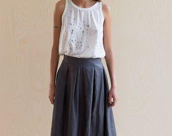 Grey linen Skirt Metallic Full Gathered High Waist Knee Length Midi Minimalist Skirt with Pockets