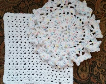 Dish/Wash Cloths - Set of 2 - White/Pastels! - 100% Cotton - Hand Crocheted - Kitchen - Bathroom - Cleaning - Camping - Kitchen Gear